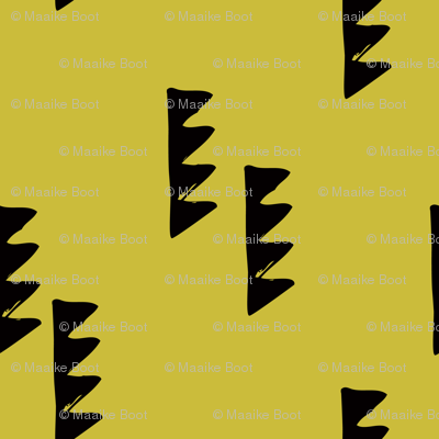 Geometric abstract triangle tree elements modern scaninavian style gender neutral print mustard yellow