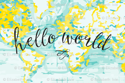 "Aqua + Yellow Hello World Lovey // 18"" x 27"""