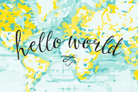 "Aqua + Yellow Hello World Lovey // 18"" x 27"" fabric by ivieclothco on Spoonflower - custom fabric"
