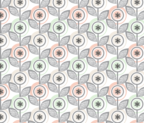 Footnote Flower (Wedding Bliss) || midcentury modern garden floral flowers leaves nature upholstery fabric by pennycandy on Spoonflower - custom fabric
