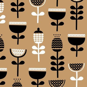 Scandinavian style retro large poppy flowers spring garden tulip black and white pastel beige ochre