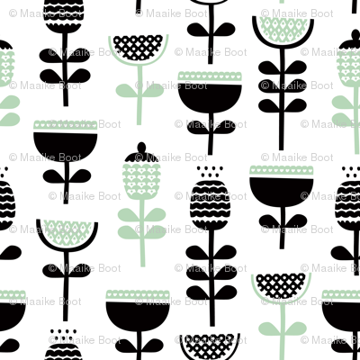 Scandinavian style retro large poppy flowers spring garden tulip black and white pastel mint green