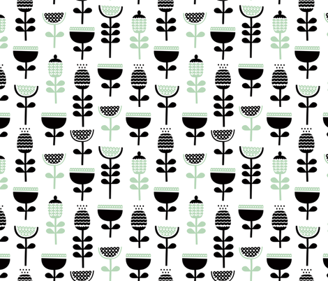 Scandinavian style retro large poppy flowers spring garden tulip black and white pastel mint green fabric by littlesmilemakers on Spoonflower - custom fabric