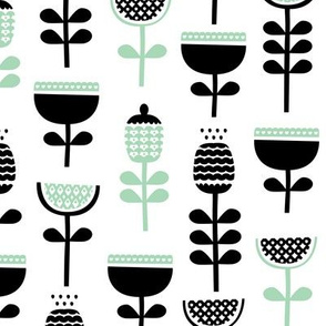 Scandinavian style retro large poppy flowers spring garden tulip black and white pastel mint green