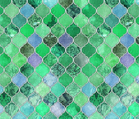 Emerald Green Decorative Moroccan Tiles Fabric Micklyn
