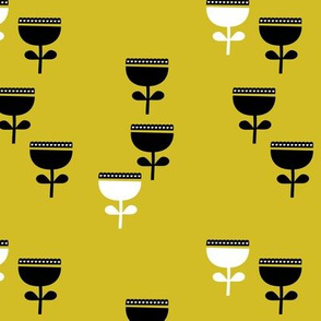 Scandinavian style retro large poppy flowers spring garden tulip black and white mustard yellow