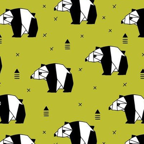 Origami animals cute panda geometric triangle and scandinavian style print black and white mustard yellow