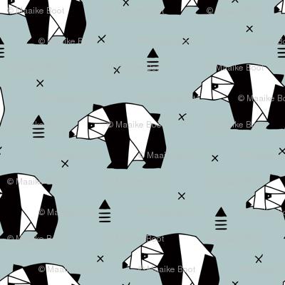 Origami animals cute panda geometric triangle and scandinavian style print black and white gray blue