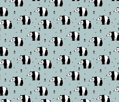 Origami animals cute panda geometric triangle and scandinavian style print black and white gray blue fabric by littlesmilemakers on Spoonflower - custom fabric