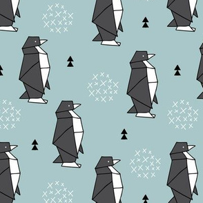 Origami animals cute ocean deep sea penguin geometric triangle and scandinavian style print black and white gray blue