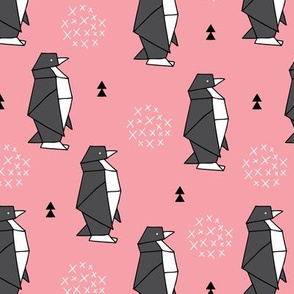 Origami animals cute ocean deep sea penguin geometric triangle and scandinavian style print black and white pink