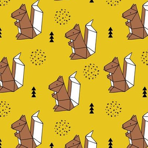Origami woodland animals cute squirrel geometric triangle and scandinavian style print origami design mustard brown