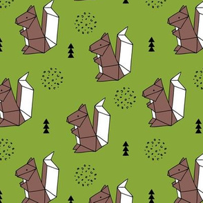 Origami woodland animals cute squirrel geometric triangle and scandinavian style print origami design green brown