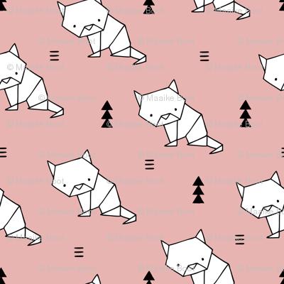 Origami kitty cat cute geometric triangle and scandinavian style print japanese art design soft pastel pink