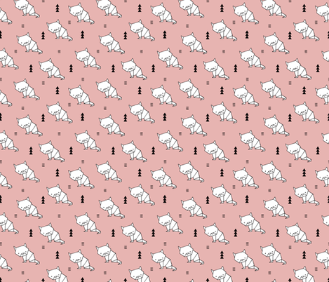 Origami kitty cat cute geometric triangle and scandinavian style print japanese art design soft pastel pink fabric by littlesmilemakers on Spoonflower - custom fabric