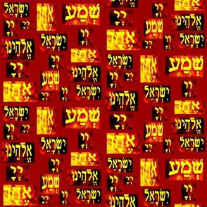 Shema Yellow on Rich Red Scattered