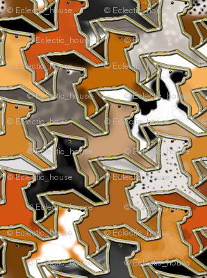 Tessellating Horse Herd Fake Gold Outlined