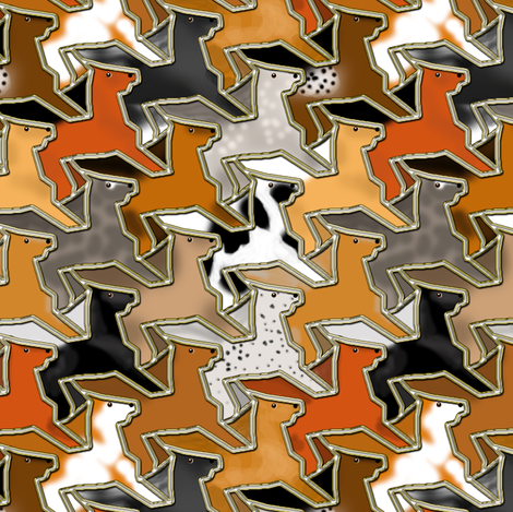 Tessellating Horse Herd Fake Gold Outlined fabric by eclectic_house on Spoonflower - custom fabric
