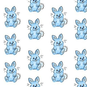 Cartoon bunny on blue