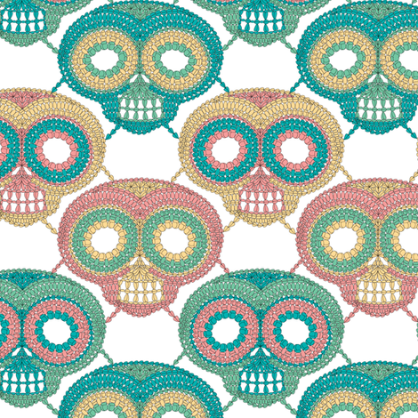 crochet skulls fabric by skellychic on Spoonflower - custom fabric