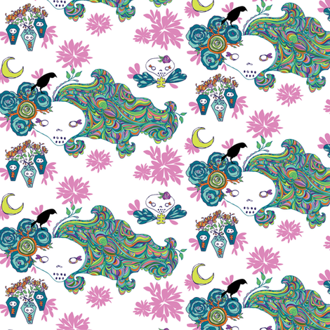 rainbow hair  fabric by skellychic on Spoonflower - custom fabric