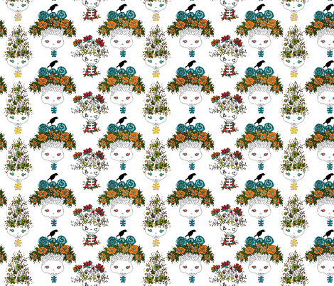 tree skulls 1 fabric by skellychic on Spoonflower - custom fabric