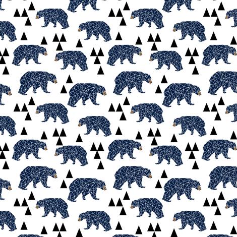 Geo camping bear navy boys room nursery kids design for Fabric for boys room