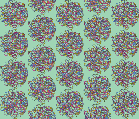 Great  Balls of Yarn-mint fabric by unclemamma on Spoonflower - custom fabric