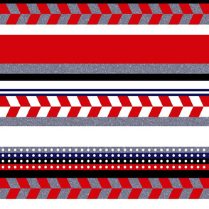 Red Grey White Aztec Stripe