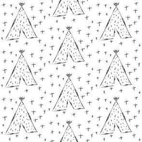 Hand Drawn Tribal Teepees - Monochrome Teepee