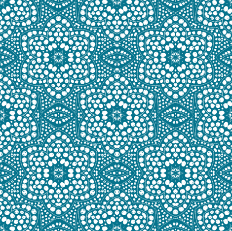 Solid Aqua Dot Bloom fabric by eclectic_house on Spoonflower - custom fabric