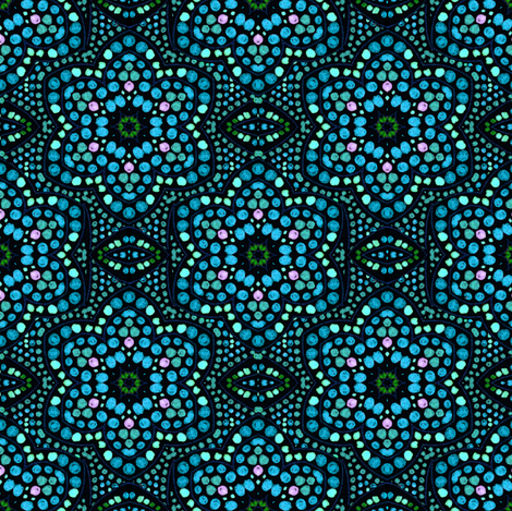 Navy and Mint Dot Bloom fabric by eclectic_house on Spoonflower - custom fabric