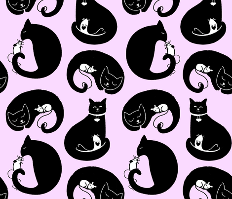 cat and mouse XOXO! fabric by karismithdesigns on Spoonflower - custom fabric