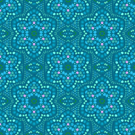Periwinkle and Mint Dot Bloom fabric by eclectic_house on Spoonflower - custom fabric