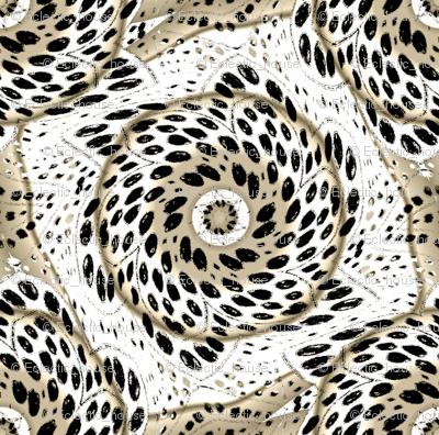 Black White Sepia Dot Bloom Swirl