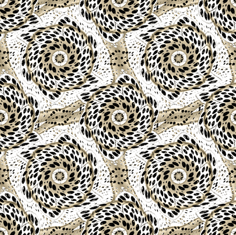 Black White Sepia Dot Bloom Swirl fabric by eclectic_house on Spoonflower - custom fabric