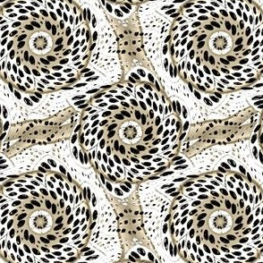 Black White Sepia Dot Bloom Swirl