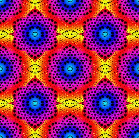 Rainbow Tie Dye Dot Bloom 2 fabric by eclectic_house on Spoonflower - custom fabric