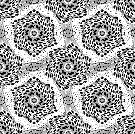 Black and White Dot Bloom Swirl fabric by eclectic_house on Spoonflower - custom fabric