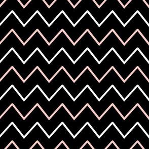 Rose Quartz & BW chevron stripe