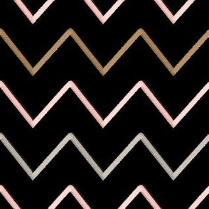 Chevron - rose, coffee & silver stitch