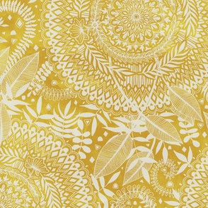 Medallion Pattern in Mustard and Cream