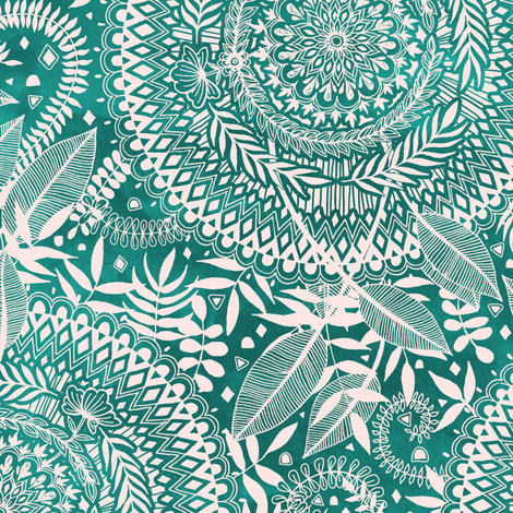 Green and Cream Nature Medallion Doodle fabric by micklyn on Spoonflower - custom fabric