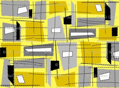 Mid-Century Modern Yellow Grey Rectangles