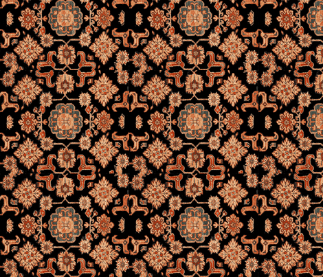 Persian Ponies Black fabric by amyvail on Spoonflower - custom fabric