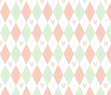 argyle hearts cucumber, peach and cream fabric by pamelachi on Spoonflower - custom fabric