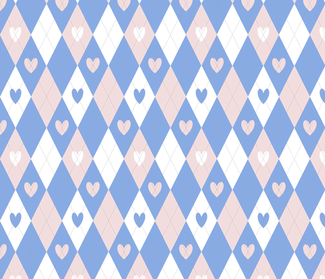 Argyle Hearts in Pink and Blue fabric by pamelachi on Spoonflower - custom fabric