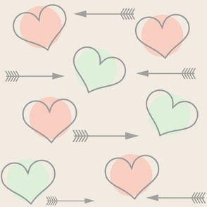 Cucumber and Pink Hearts N' Arrows
