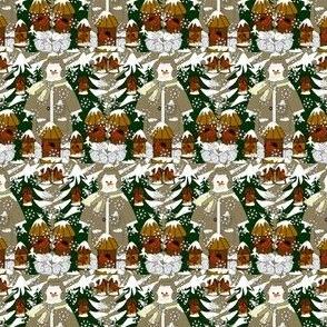 Doug The Handy Dandy Gentleman Snowman Winter Trees, Snowflakes, Cardinal Birds & Birdhouses Fabric #1