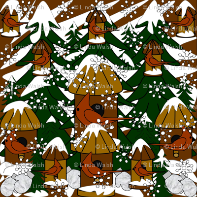Doug The Handy Dandy Gentleman Winter Trees, Snowflakes, Cardinals, Birds & Birdhouses Fabric #2